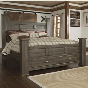 Transitional King Poster Bed with Footboard Storage