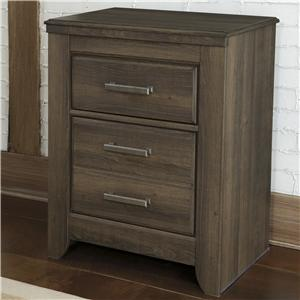 2-Drawer Nightstand with Pewter Accent Hardware