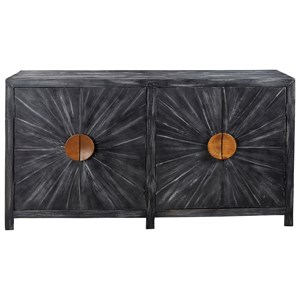 Antique Black Finish Accent Cabinet with Sunburst Design on Doors