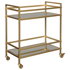 Gold Bar Cart with Mirrored Shelves