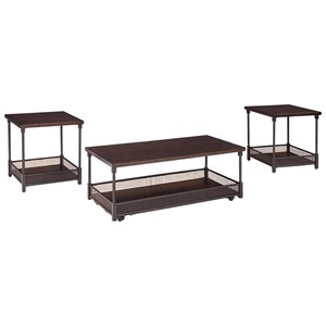 Wood/Metal 3-Piece Occasional Table Set with Gallery Rails