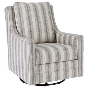 Swivel Glider Accent Chair with Reversible Seat and Back Cushions