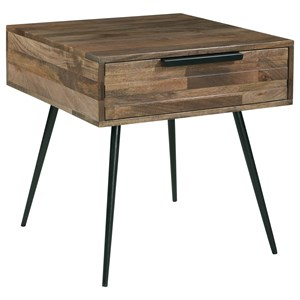 Contemporary Square End Table with Drawer