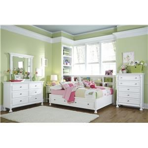 Full Bookcase Bed with Storage, Dresser, Mirror, Nightstand and Chest Package