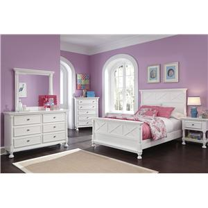 Full Bed, Dresser, Mirror and Nightstand