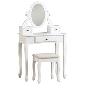 Vanity with Swivel Mirror and Stool