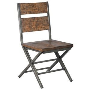 Distressed Pine Wood/Metal Dining Room Chair