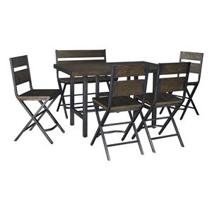 6-Piece Rectangular Dining Room Counter Table w/ Pine Veneers w/ 4 Bar Stools w/ Shaped Foot Rest and Double Bar Stool Set