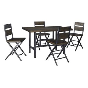 5-Piece Rectangular Dining Room Counter Table w/ Pine Veneers and Bar Stool w/ Shaped Foot Rest Set