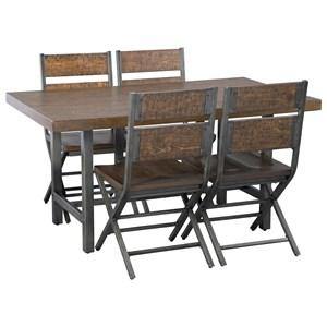 5-Piece Distressed Pine/Metal Rectangular Dining Table Set