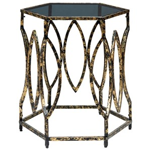 Contemporary Accent Table with Black Glass Top