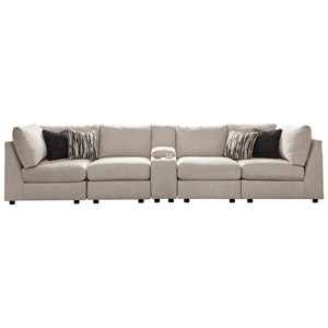 Contemporary 5-Piece Sectional with Storage Console