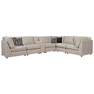 Contemporary 7-Piece Sectional with Storage Console