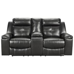 Contemporary Reclining High Back Loveseat with Storage Console