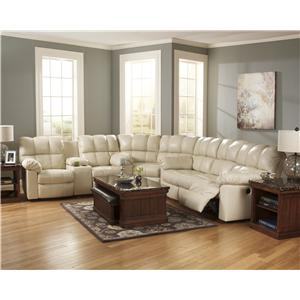 Signature Design by Ashley Kennard - Cream Reclining Sectional Sofa