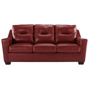 Leather Match Contemporary Sofa