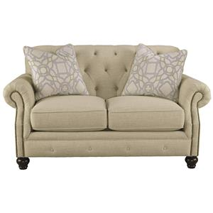 Traditional Loveseat with Tufted Back and Feather Blend Accent Pillows