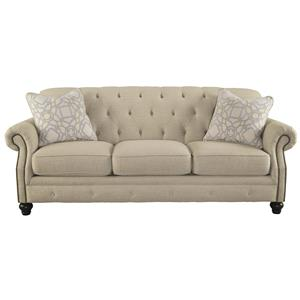 Traditional Sofa with Tufted Back and Feather Blend Accent Pillows