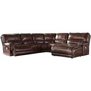 Casual 5-Piece Power Reclining Sectional with Left Arm Facing Zero Wall Power Recliner