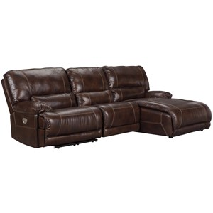 Casual 3-Piece Power Reclining Sectional with Left Arm Facing Zero Wall Power Recliner