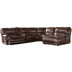Casual 6-Piece Power Reclining Sectional with Left Arm Facing Zero Wall Power Recliner