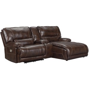 Casual 3-Piece Power Reclining Sectional with Storage Console