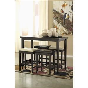 Rectangular Dining Room Counter Height Table, 2 White Upholstered Barstools and 2 Dark Brown Upholstered Barstools Set