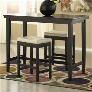3-Piece Counter Table Set with Ivory Upholstered Stools