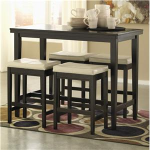 5-Piece Counter Table Set with Ivory Upholstered Stools