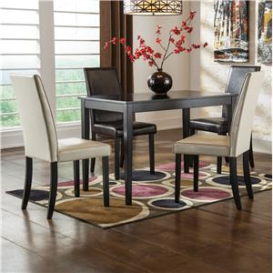 5-Piece Rectangular Table Set with Brown Chairs & Ivory Chairs