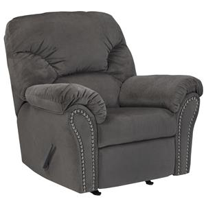 Rocker Recliner with Pillow Arms & Nailhead Trim