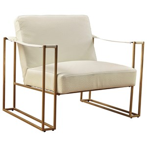 Gold Finish Metal Accent Chair in Cream Embossed Leather