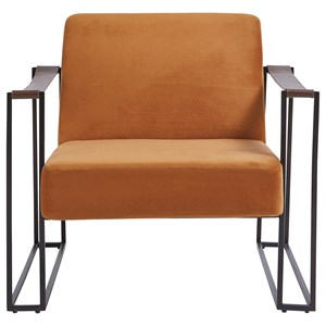 Contemporary Metal Accent Chair with Amber Velvet Fabric and Leather Strap Armrests