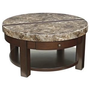 Round Lift Top Cocktail Table with Drawer & Shelf
