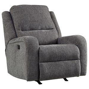 Contemporary Power Rocker Recliner w/ Adjustable Headrest