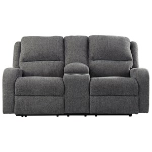 Contemporary Power Reclining Loveseat w/ Console & Adjustable Headrest