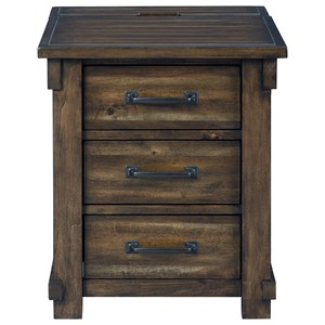 Transitional 3-Drawer Rectangular End Table with Power Supply