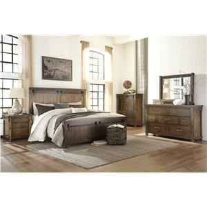 Queen Panel Bed with Barn Door Style, Dresser, Mirror and Nightstand Package