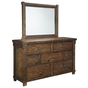 Dresser with 7 Drawers & Bedroom Mirror