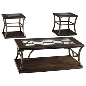 Contemporary Metal/Wood Occasional Table Set with Inset Glass Tops