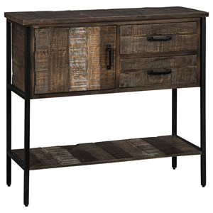 Rustic Accent Cabinet with Black Metal Base