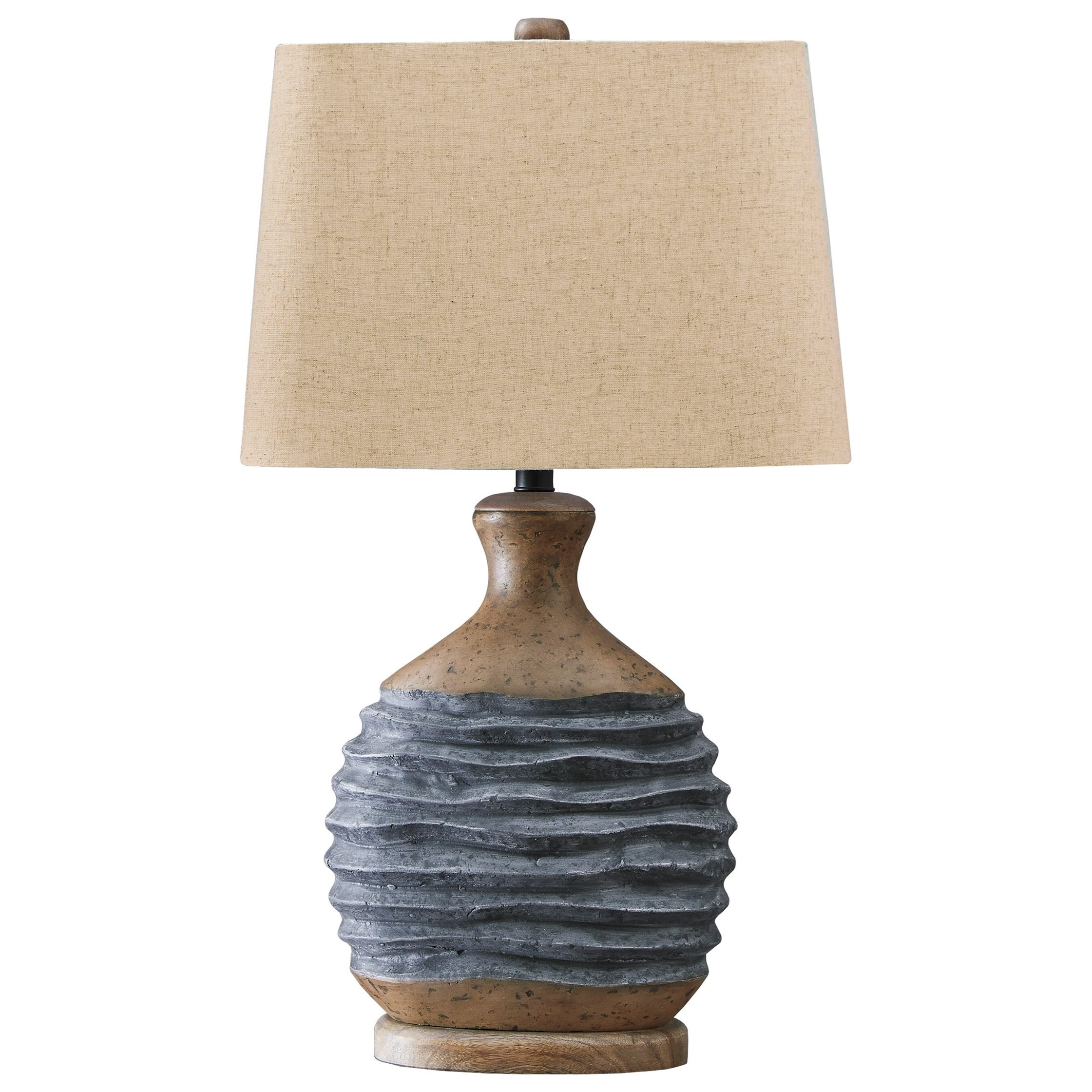 Lamps - Casual Medlin Gray/Beige Paper Table Lamp by Ashley (Signature Design) at Johnny Janosik