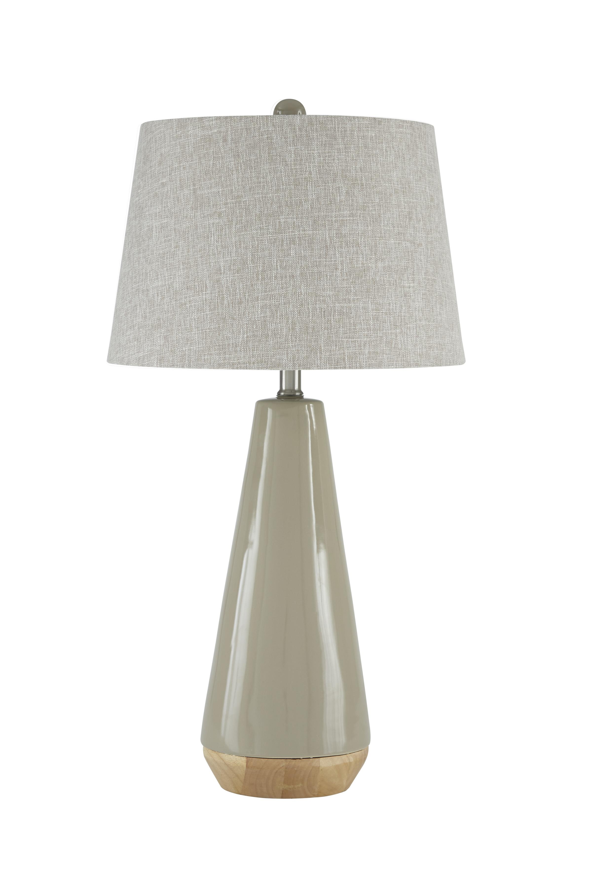 Lamps - Contemporary Sheray Taupe Ceramic Table Lamp by Signature Design at Fisher Home Furnishings