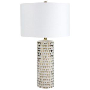 Signature Design by Ashley Lamps - Contemporary Alejandra Gold Finish/White Table Lamp