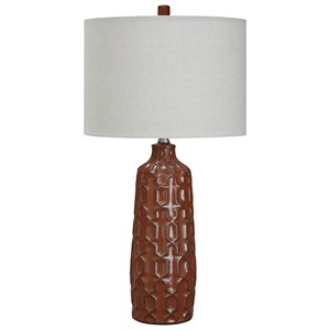 Set of 2 Mab Burnt Orange Ceramic Table Lamps
