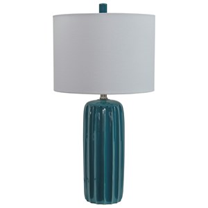 Signature Design by Ashley Lamps - Contemporary Set of 2 Adorlee Teal Ceramic Table Lamps