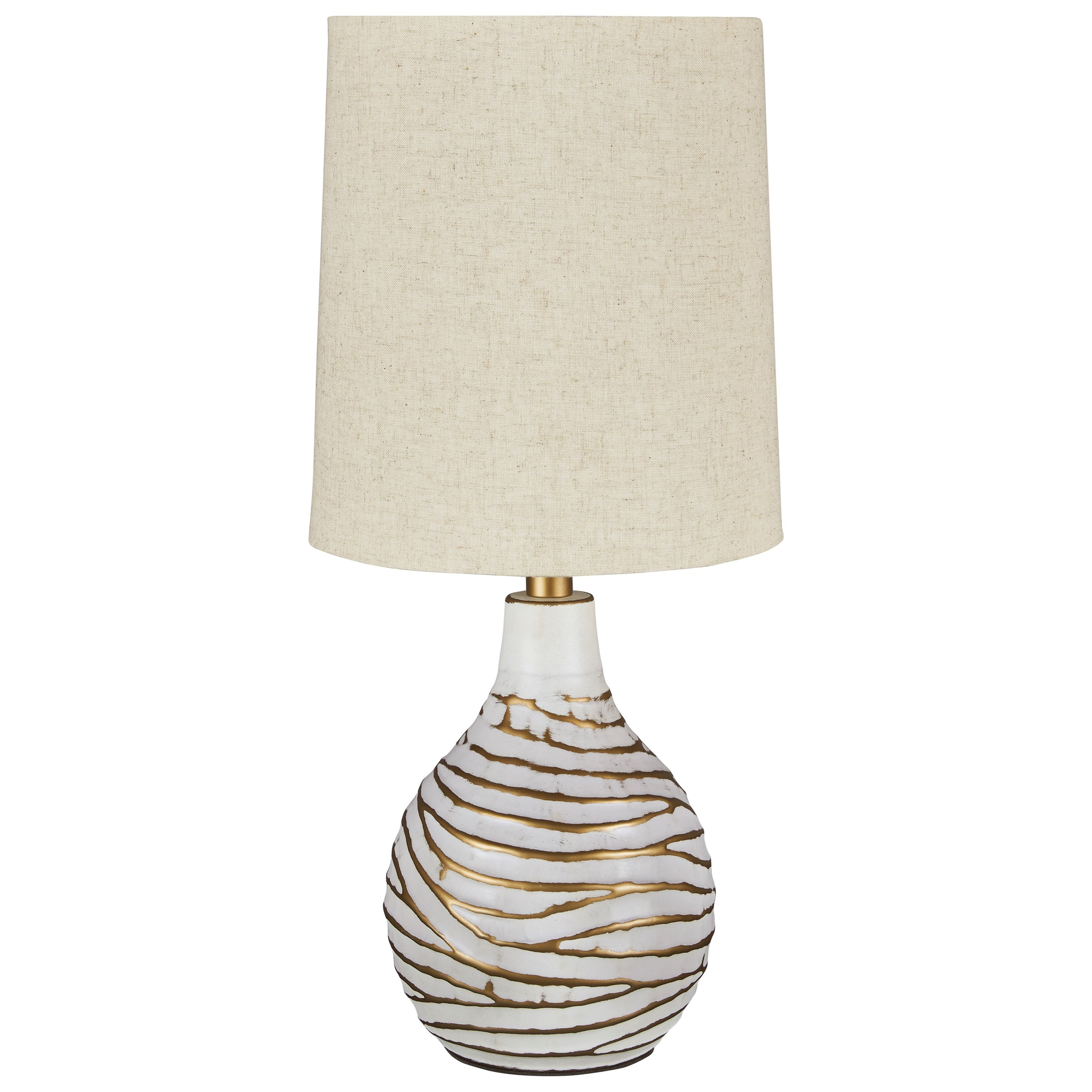 Lamps - Contemporary Aleela White/Gold Table Lamp by Ashley (Signature Design) at Johnny Janosik