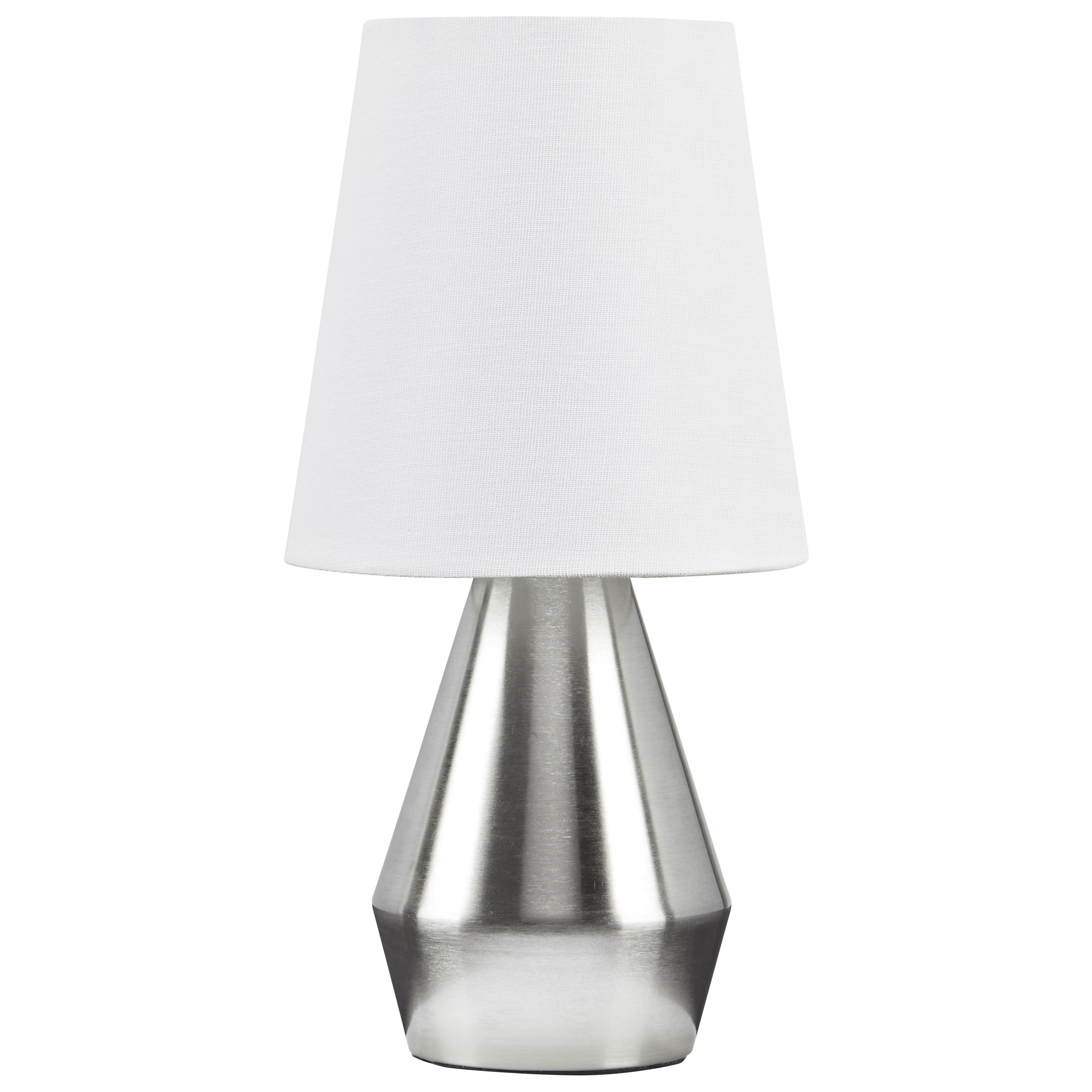 Lamps - Contemporary Lanry Silver Finish Metal Table Lamp by Ashley (Signature Design) at Johnny Janosik