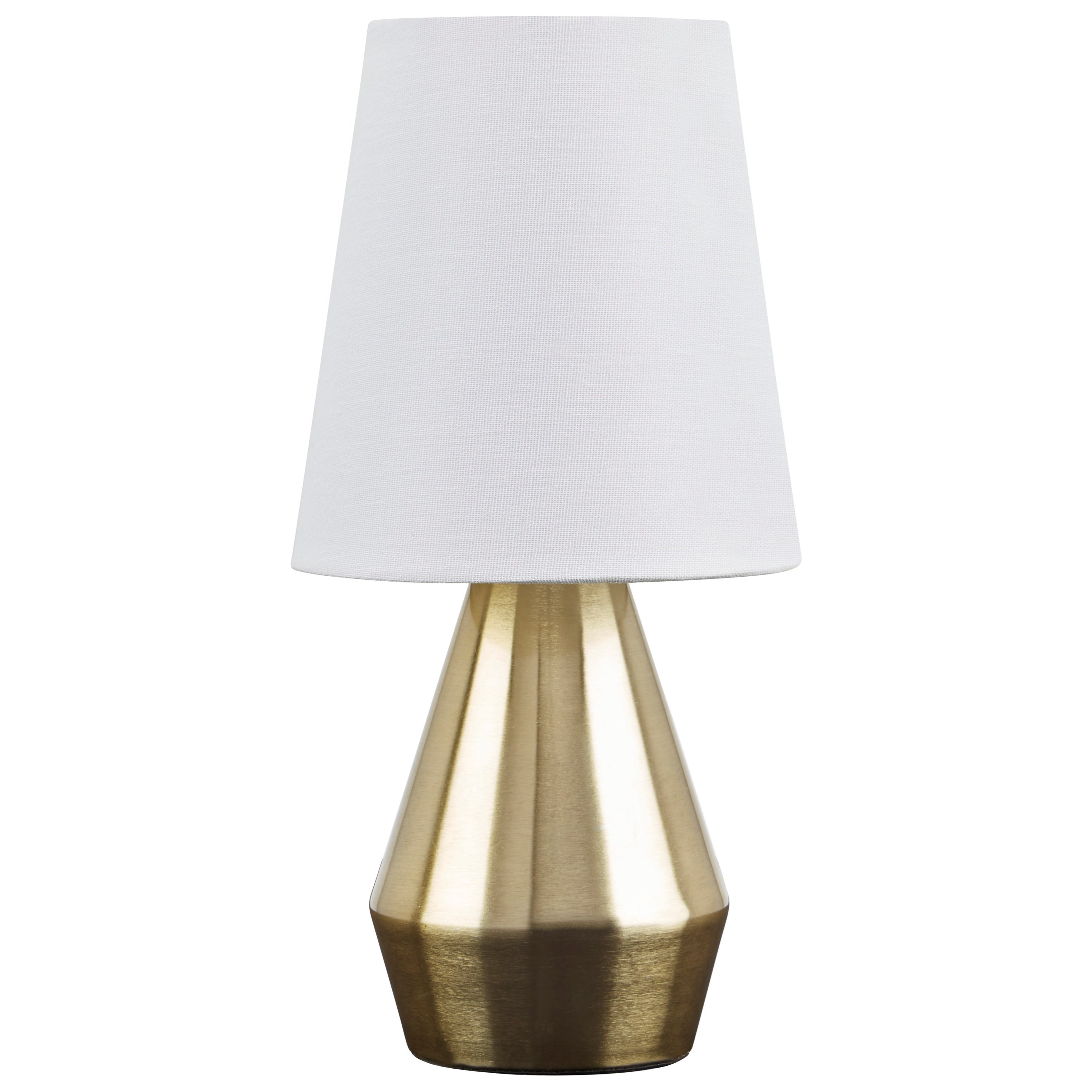 Lamps - Contemporary Lanry Brass Finish Metal Table Lamp by Ashley (Signature Design) at Johnny Janosik