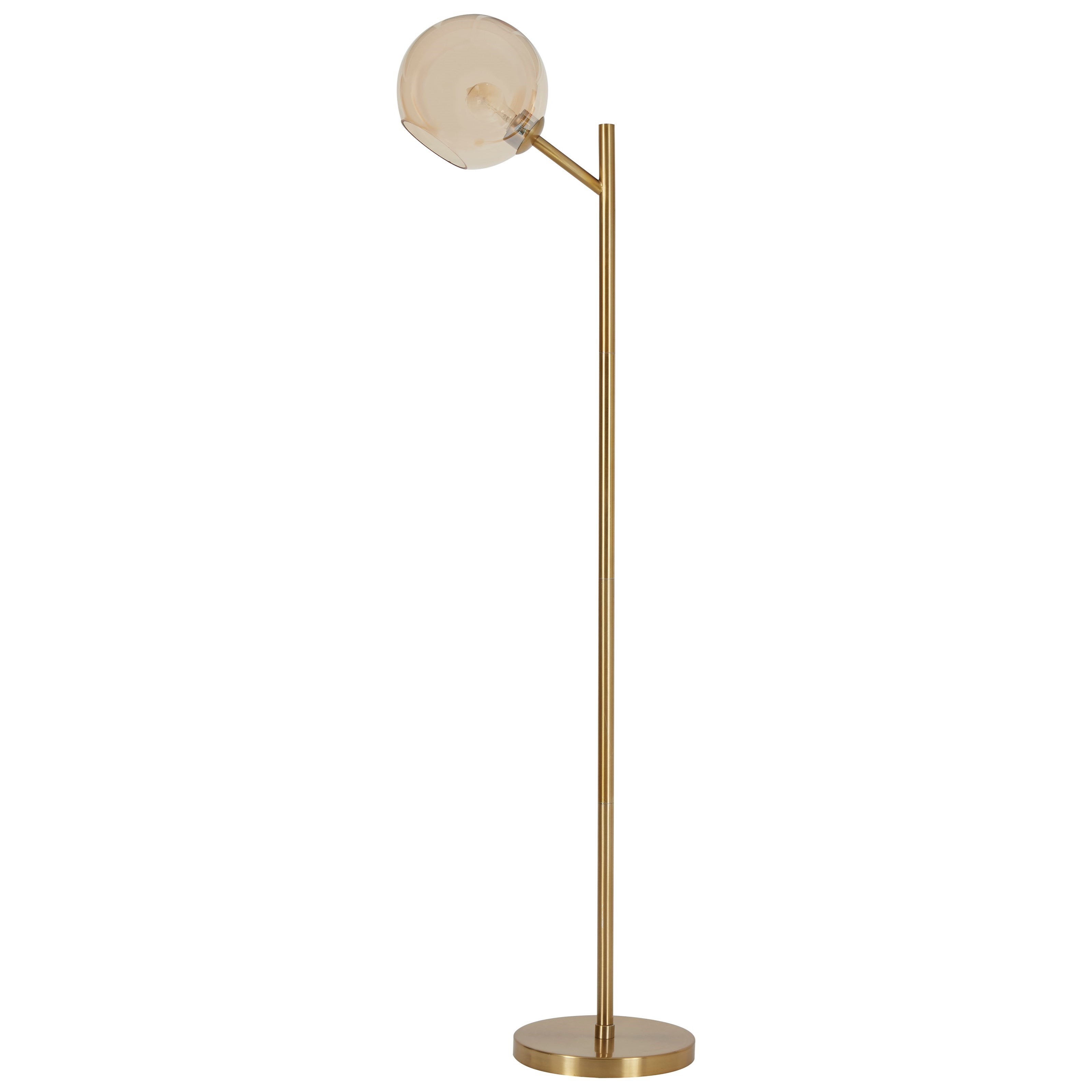 Lamps - Contemporary Abanson Gold Finish Metal Floor Lamp by Signature Design by Ashley at Houston's Yuma Furniture